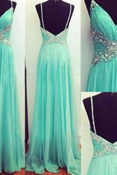 Mint Green Chiffon A-Line Long Chiffon Prom Dress With Crystal Beading