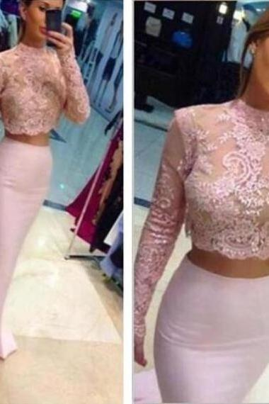 Beading Appliques Stretch Satin Two Pieces Prom Dresses 2017
