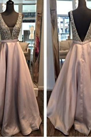 A-Line V-Neck Sleeveless Natural Backless Satin Prom Dresses 2017