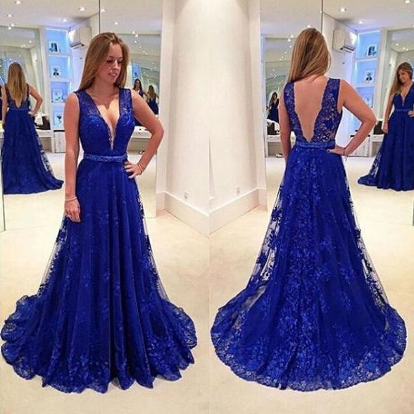 Blue A-Line V-Neck Sleeveless Natural Sweep/Brush Train Lace Prom Dresses 2017